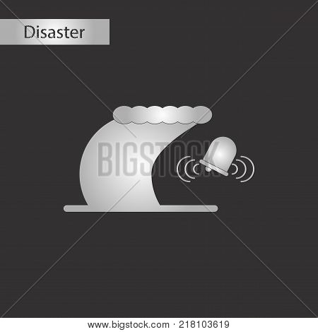 black and white style icon of tsunami alarming bell