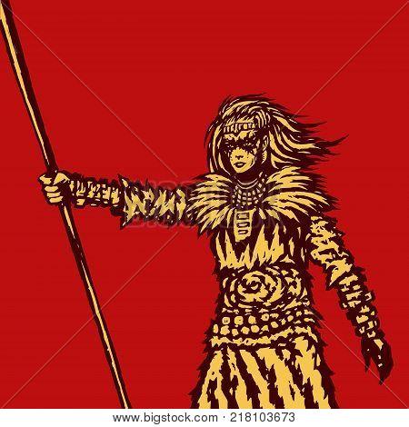 Warrior girl is holding a spear ready for battle illustration. Fantasy artwork. Freehand digital drawing.