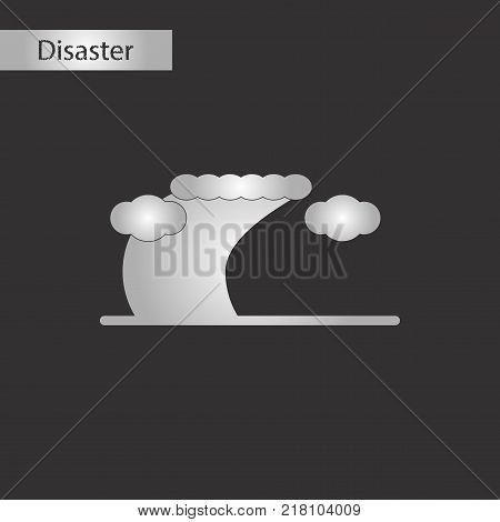 black and white style icon of disaster tsunami