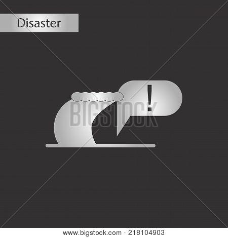 black and white style icon of ocean tsunami