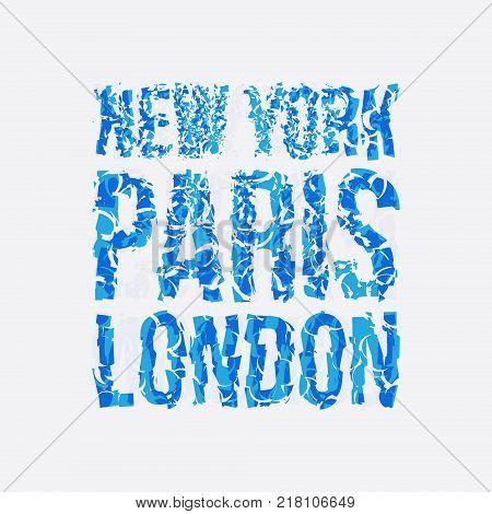 Capital New York Paris London typography, t-shirt graphics, vectors