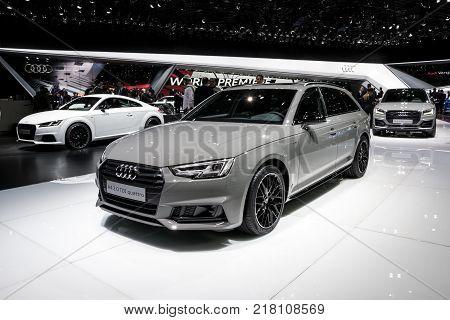 GENEVA SWITZERLAND - MARCH 7 2017: Audi A4 2.0 TDI quattro car showcased at the 87th Geneva International Motor Show.