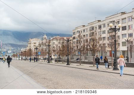 Russia Novorossiysk - October 28.2017: a Wide pedestrian street Novorossisk Republic in the Central part of the city. Cloudy autumn day
