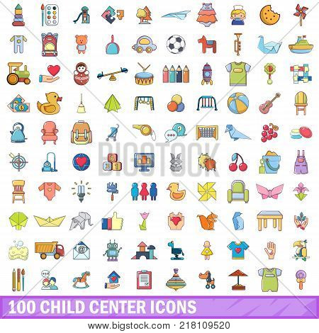 100 child center icons set. Cartoon illustration of 100 child center vector icons isolated on white background