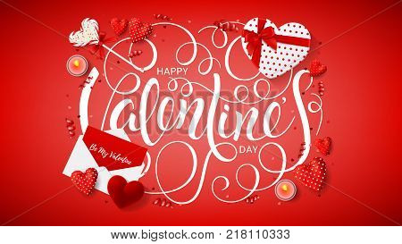 Happy Valentine's Day Decoration Web Banner. Top view on composition with lollipop, gift box, case for ring, candles and confetti. Vector illustration with Lettering.