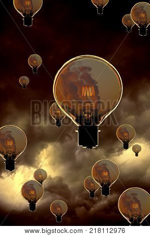 Glass Electric Light Bulb With Glowing Filament Containing Image Of Power Station Cooling Towers Flo