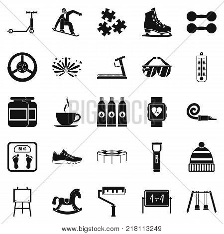 Childrens activities icons set. Simple set of 25 childrens activities vector icons for web isolated on white background