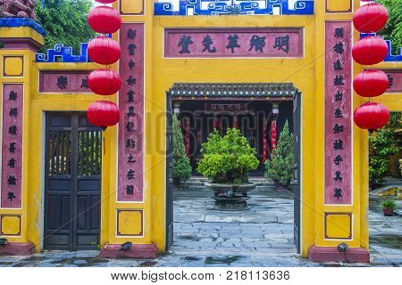 HOI AN VIETNAM - OCT 04 : Architectural details in Hoi An Vietnam on October 04 2017. The historic old town of Hoi An is UNESCO World Heritage Site since 1999.