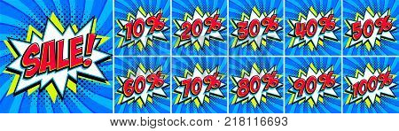 Big Blue sale set. Sale inscription and all percent numbers. Blue and red colors. Pop-art comics style web banners, flash animation, stickers, tags. Vector illustration