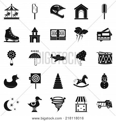 Childrens park icons set. Simple set of 25 childrens park vector icons for web isolated on white background