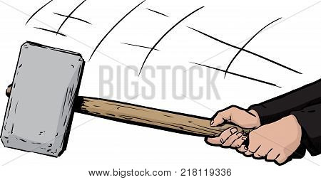 Hands Wielding A Large Sledge Hammer