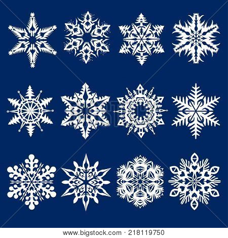 Merry Christmas and Happy New Year Celebration Snowflakes perfect set. Wil be use on the web, posters, banners, textile
