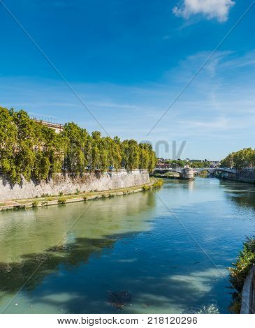 Tiber river on a clear day in Rome Italy