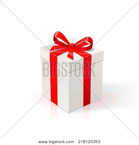 White Cardboard box with red ribbon and bow. Gift Box on white background. Happy birthday Christmas New Year wedding or Valentine day package Design. Vector Illustration.
