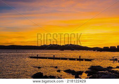 Colorful sunset in La Maddalena in Sardinia