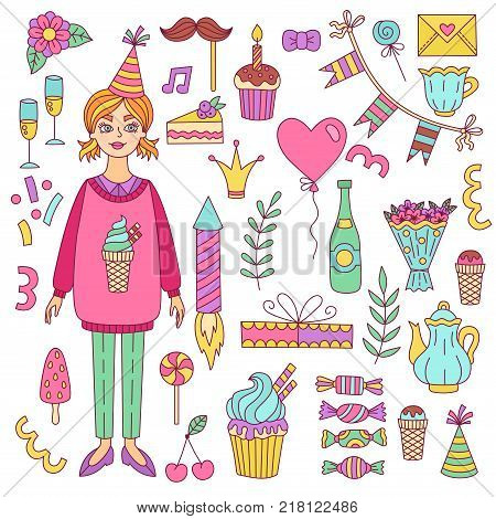 Birthday doodle icons birthday girl party vector set