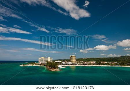 Aerial view of coastline in Kingston Jamaica
