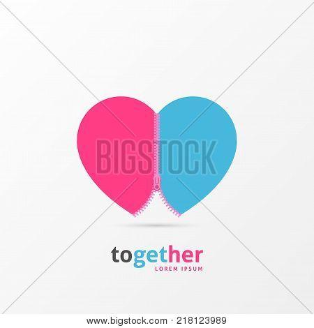 Love bond. Heart symbol with zipper. Vector illustration