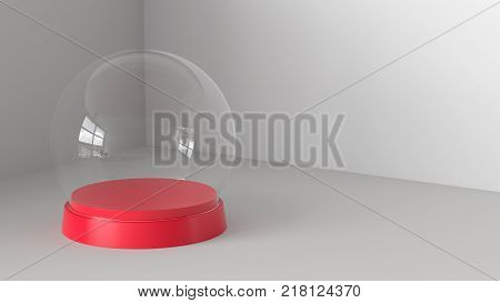 Empty snow glass ball with red tray on white background. 3D rendering.