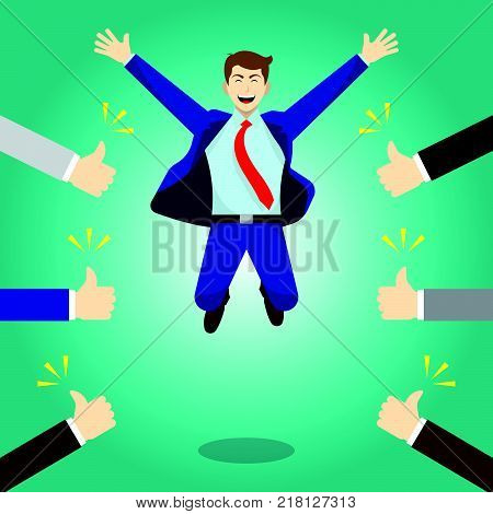Vector Illustration Business Concept As A Happy Businessman Is Highly Jumping And Thumbs Up From Others. He Is Delightful And He Is Admired Praised Respected Cheered And Full Of Social Esteem.