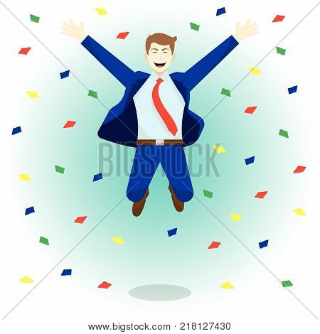 Vector Illustration Business Concept As A Happy Businessman Is Highly Jumping Among Colorful Piece Of Papers. He Is Delightful And Pleasure What He Achieves Succeeds Attains; Full Of Self Esteem.