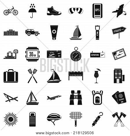 Journey icons set. Simple style of 36 journey vector icons for web isolated on white background