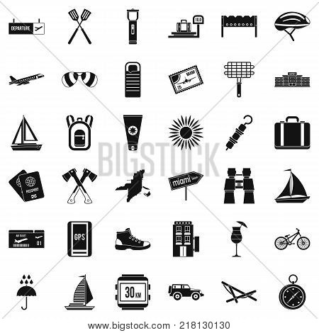 Destination icons set. Simple style of 36 destination vector icons for web isolated on white background