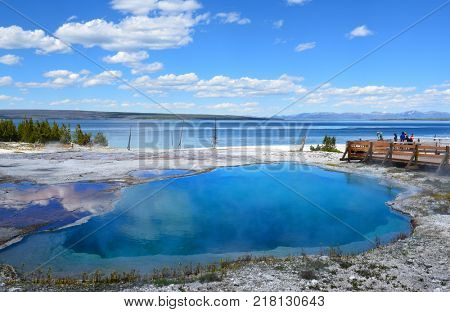 A hot spring in the West Thumb Geyser Basin. Extremely hot, and one of the parks most beautiful and intense blue pools.