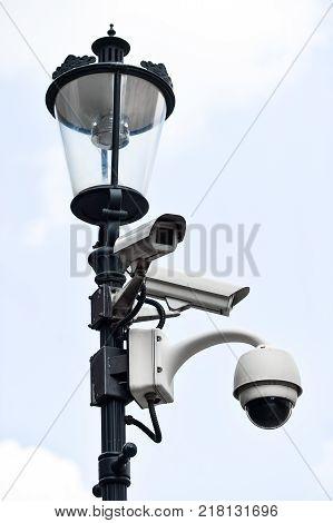 Surveillance Camera On A Lighting Pole