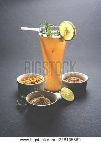 Jal Jeera or Jal-jeera, or jaljira, is an Indian beverage prepared using mixing cumin powder in water and served cold