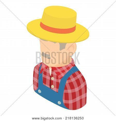 Farmer man icon. Isometric illustration of farmer man vector icon for web