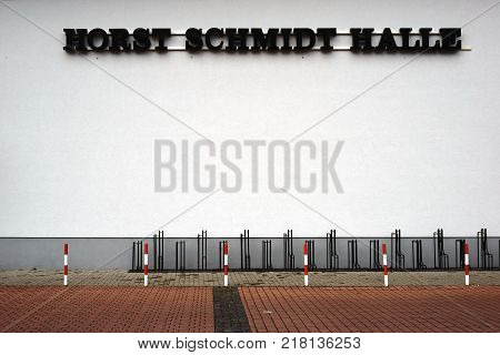 GRIESHEIM, GERMANY - DECEMBER 02: The Horst Schmidt Hall a venue for sports clubs and sports activities on December 02, 2017 in Griesheim.