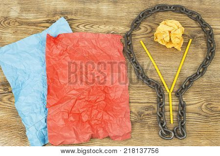 creative idea. Chain in form of bulb.Concept of idea and innovation with paper ball
