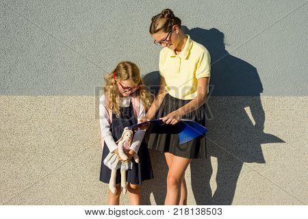 Sisters schoolgirls in school uniforms learn outdoors. Schoolgirls in eyeglasses, Back to school concept