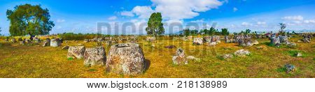 Archaeological landscape The Plain of jars.  Laos. Panorama