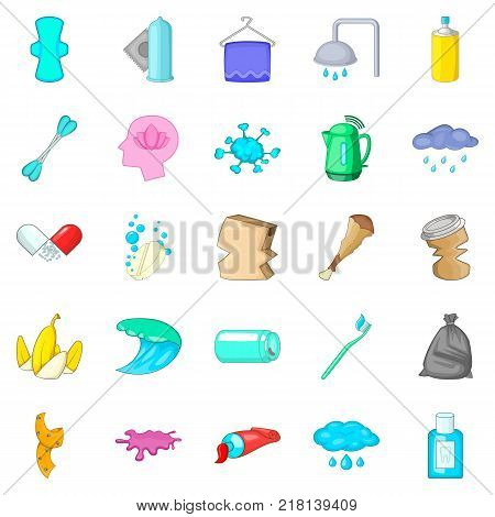 Scrubbing icons set. Cartoon set of 25 scrubbing vector icons for web isolated on white background