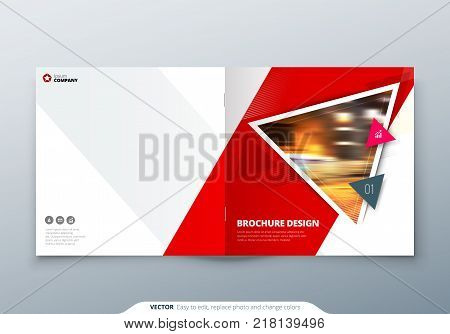 Square Brochure design. Red corporate business rectangle template brochure, report, catalog, magazine. Brochure layout modern triangle shape abstract background. Creative brochure vector concept
