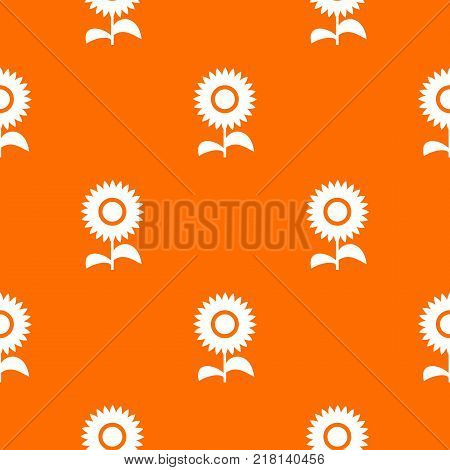 Flower pattern repeat seamless in orange color for any design. Vector geometric illustration