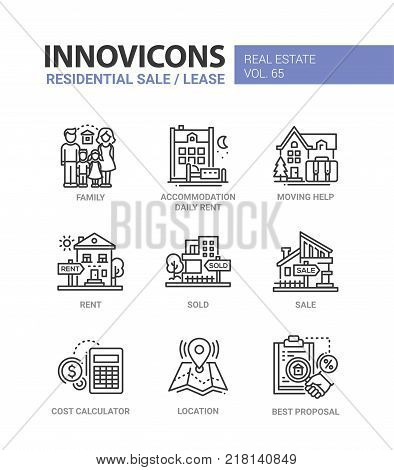 Residential sale and lease - line design icons set. Family, accommodation daily rent, moving help, sold, cost calculator, location, best proposal. Collection of blue, red high quality images