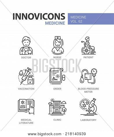 Medicine - line design icons set with description. Doctor, nurse, patient, vaccination, order, blood pressure meter, medical literature, clinic, laboratory. Collection of high quality web elements