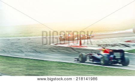 Kart crossing the finish line racer. race car