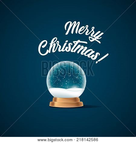 Snow globe on blue background. Merry Christmas and Happy New Year 2018.