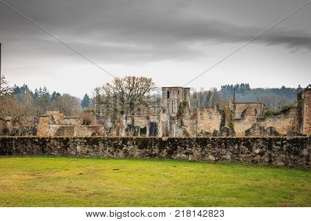 ORADOUR SUR GLANE FRANCE - December 03 2017 : a view of the church tower in the ruins of the village destroyed by the Nazis on June 10 1944