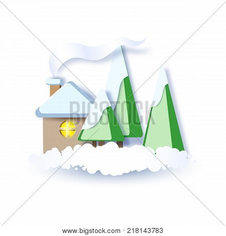 Color paper cut design and craft winter landscape with evergreen trees, house with smoke from chimney. Vector illustration. Happy new year card.