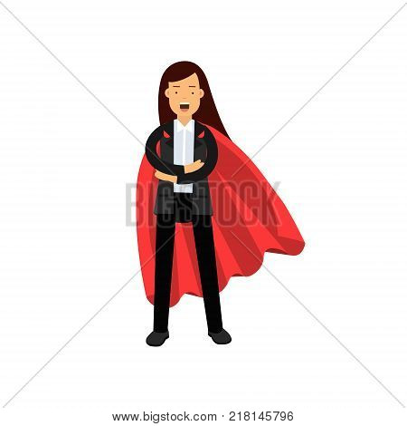 Business woman with red superhero cloak standing with arms crossed. Cartoon female character in black pant suit. Leadership and achievement concept. Flat vector illustration isolated on white.