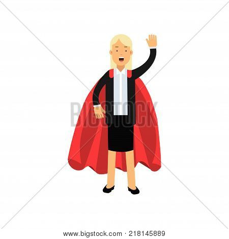 Cartoon blond woman character in black skirt suit with red superhero mantle. Cheerful business lady standing isolated on white and waving by hand. Team leader concept. Flat vector illustration.