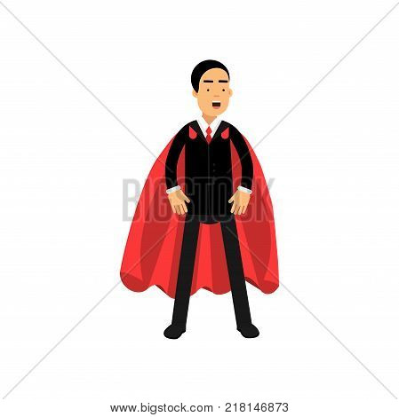 Strong and powerful business man standing in superhero pose with red mantle. Cartoon male character in black formal suit. Office clerk concept. Flat vector illustration isolated on white background.