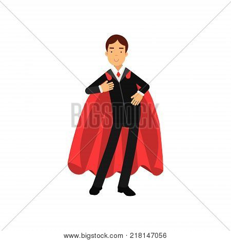 Cartoon illustration of confident business man with superhero mantle. Smiling male character wearing formal black suit with red tie. Success and leadership concept. Isolated flat vector design.