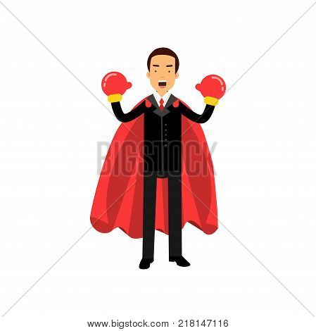 Successful young man in formal business attire with boxing gloves and red superhero cape. Confident male character ready to fight. Vector illustration in flat style isolated on white background.