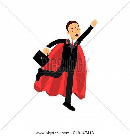 Cheerful male character with briefcase and superhero cloak in flying action. Business man in classic black costume. Purposeful office clerk. Flat vector illustration isolated on white background.